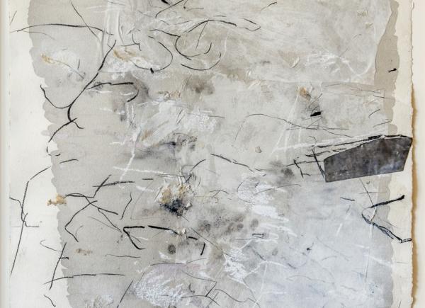Dalle nature, sui muri I, 1993, tecnica mista, piombo e collage su carta, cm 105x75