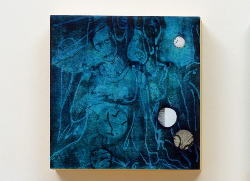 Non è luce non è notte - crepuscolo, 2018, acrilico e olio su tavola, cm 30x29