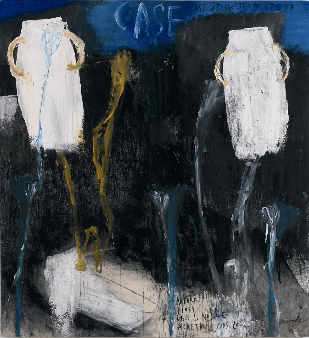Anfore, fiori, Case di notte a Creta, 2005/06, tecnica mista su tela, cm 137x126