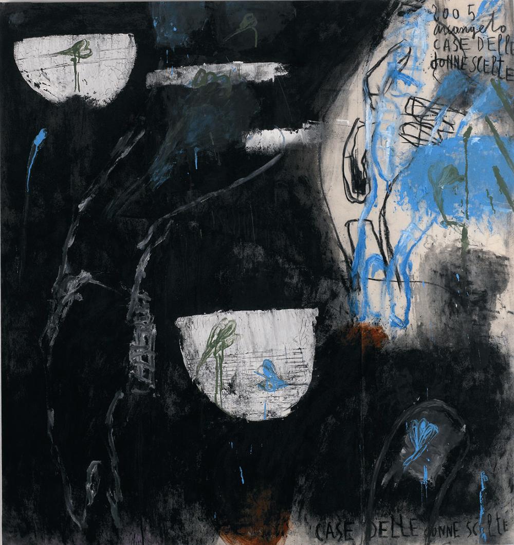 Case delle donne scelte, 2005, tecnica mista su tela, cm 138x135