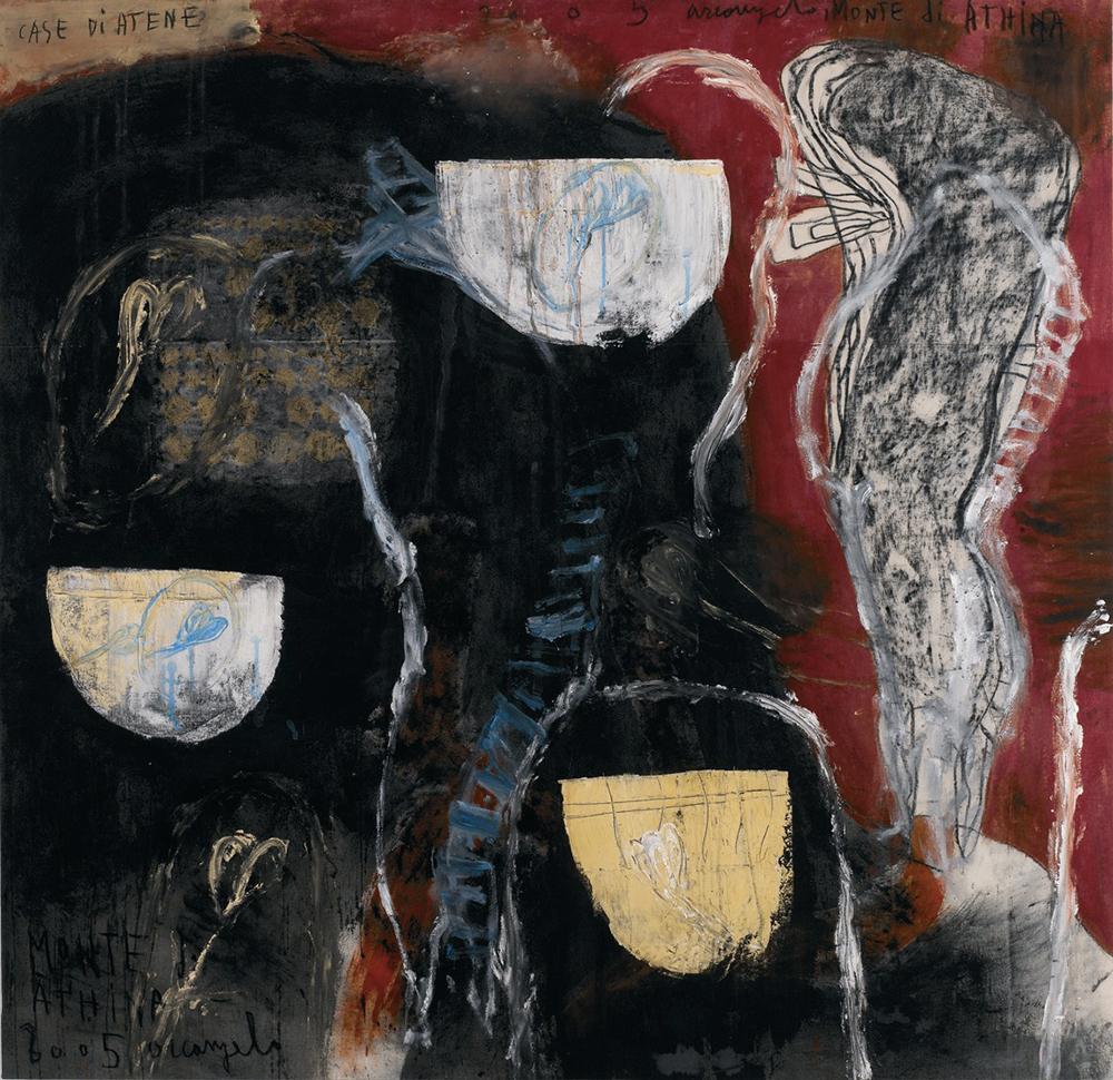 Case di Creta, Monte di Atene, 2005, tecnica mista su tela, cm 139x138