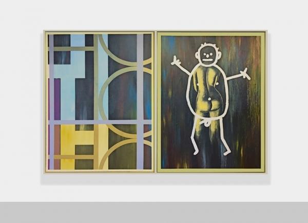Selbstportrait aus der Serie der grossen Gefühle, 1984/1985, dyptich, acrylic on canvas, cm 205x310