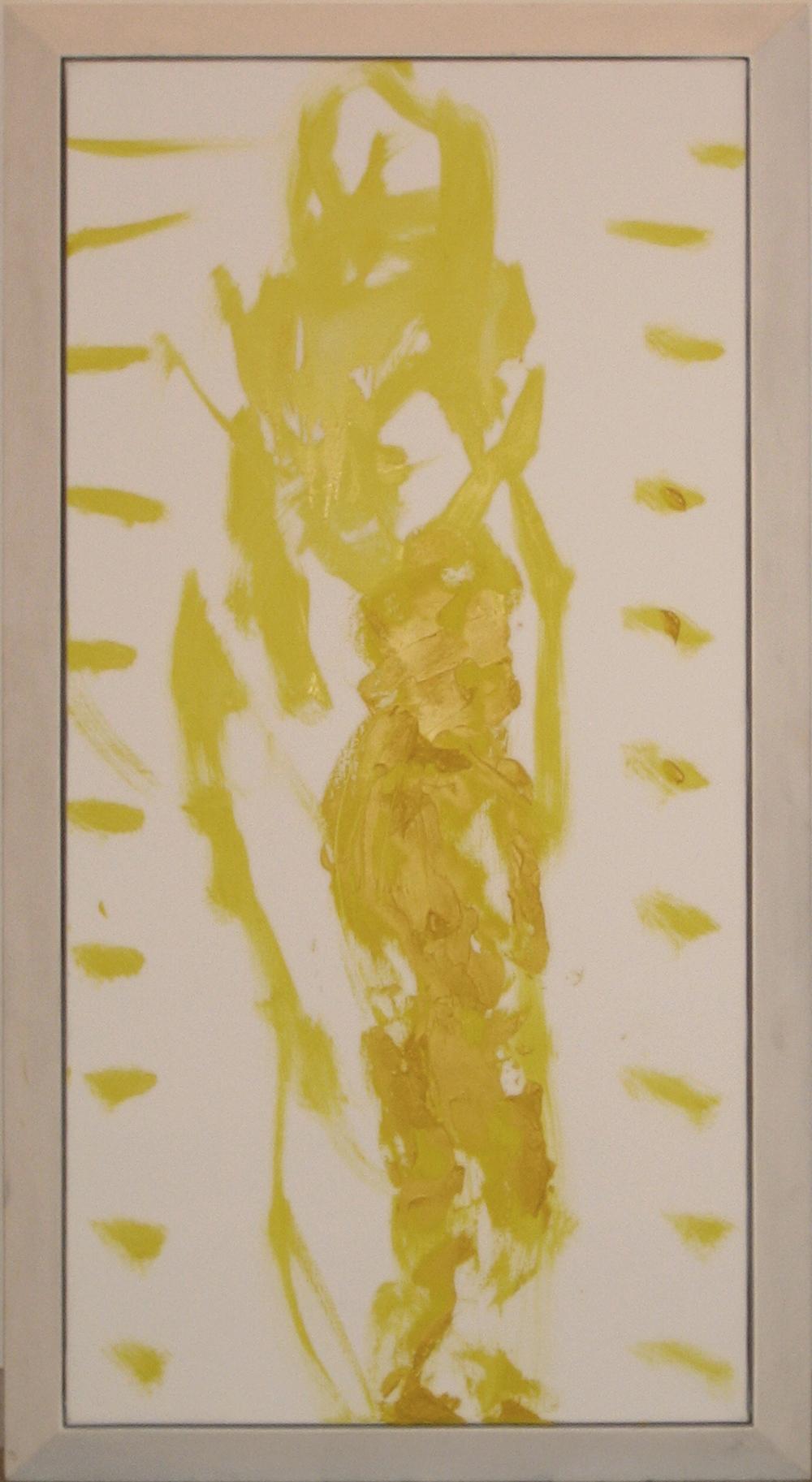 Grande e piccolo, 2005, olio e tempera su tela e legno, cm 131x72