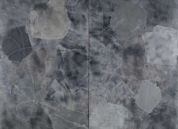 Diptych with Ellipses, 2012, encausto su tavola, cm 183x200