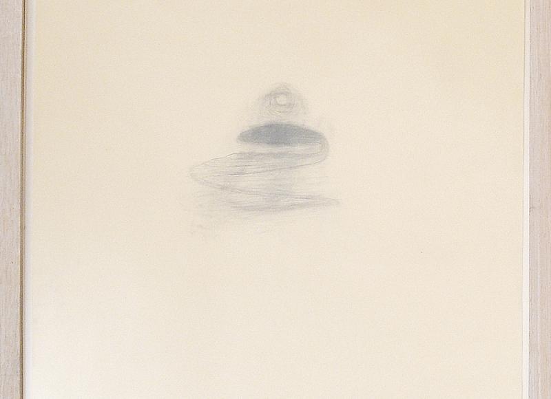 Lago nero sospeso tra terra e cielo, 2003, grafite su carta, cm 47x35,5
