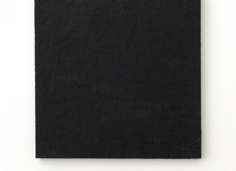 Paesaggi, 1990, lamelle di cartoncino su legno, cm 60x60