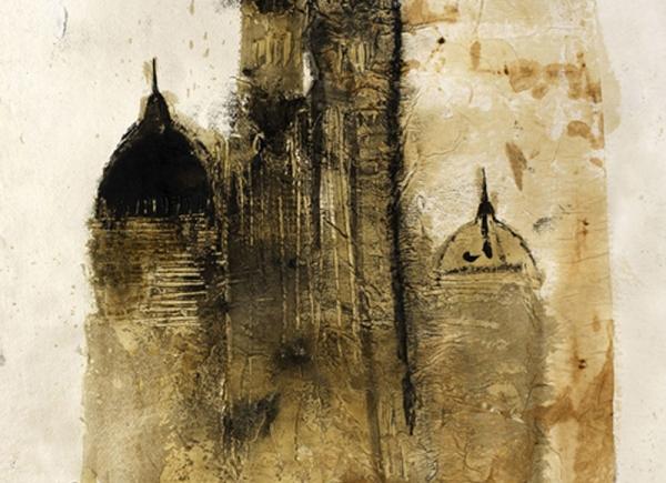 Cattedrale, 2004, olio su carta, cm 80x60