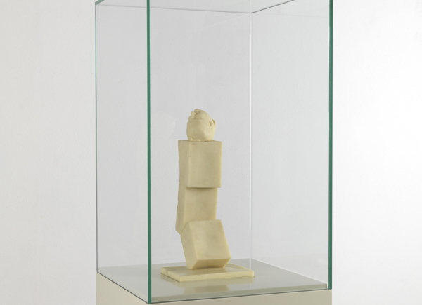 Ex voto 1 from the series Art is the better life, 2007, wax, glass showcase on lacquered wooden base, cm 185x35x35