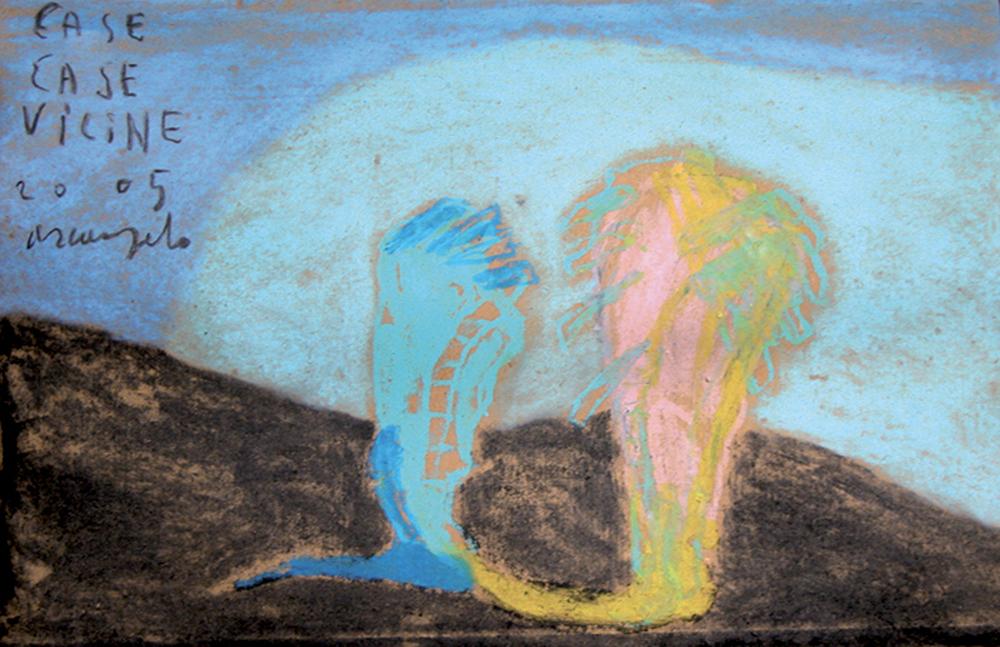 Case Case vicine, 2005, tecnica mista su carta pesce, cm 27x41