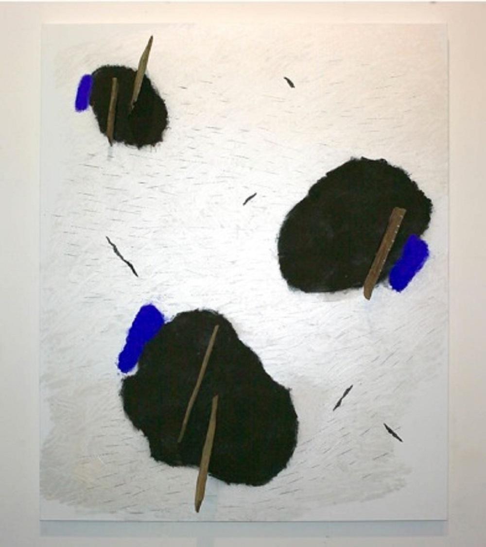 Contrappunti D, 2011, tecnica mista e ardesia indiana su tela, cm 220x180x24, MAMbo - Museo d'Arte Moderna di Bologna