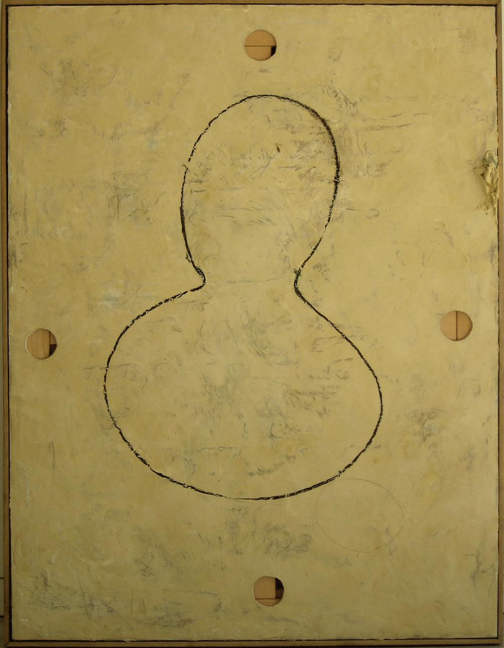 Senza titolo, 2000, olio ed encausto su tela, cm 120x95