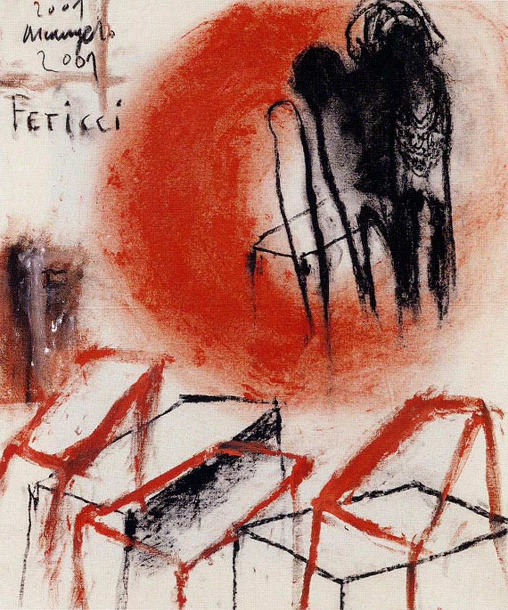 Feticci, 2001, tecnica mista su carta, cm 63x53