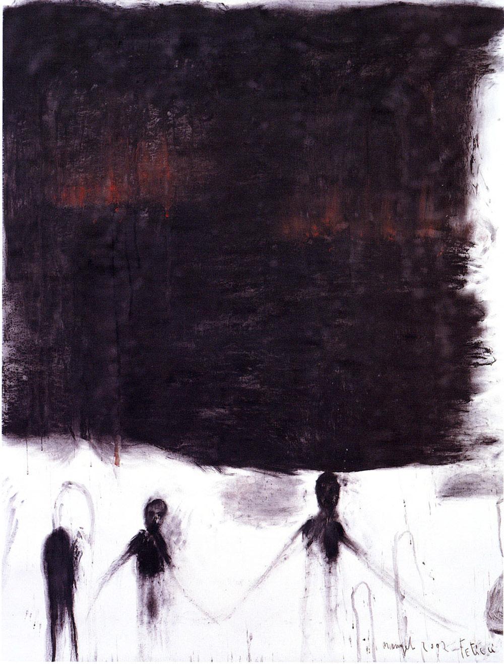 Feticci, 2002, tecnica mista su carta, cm 200x151
