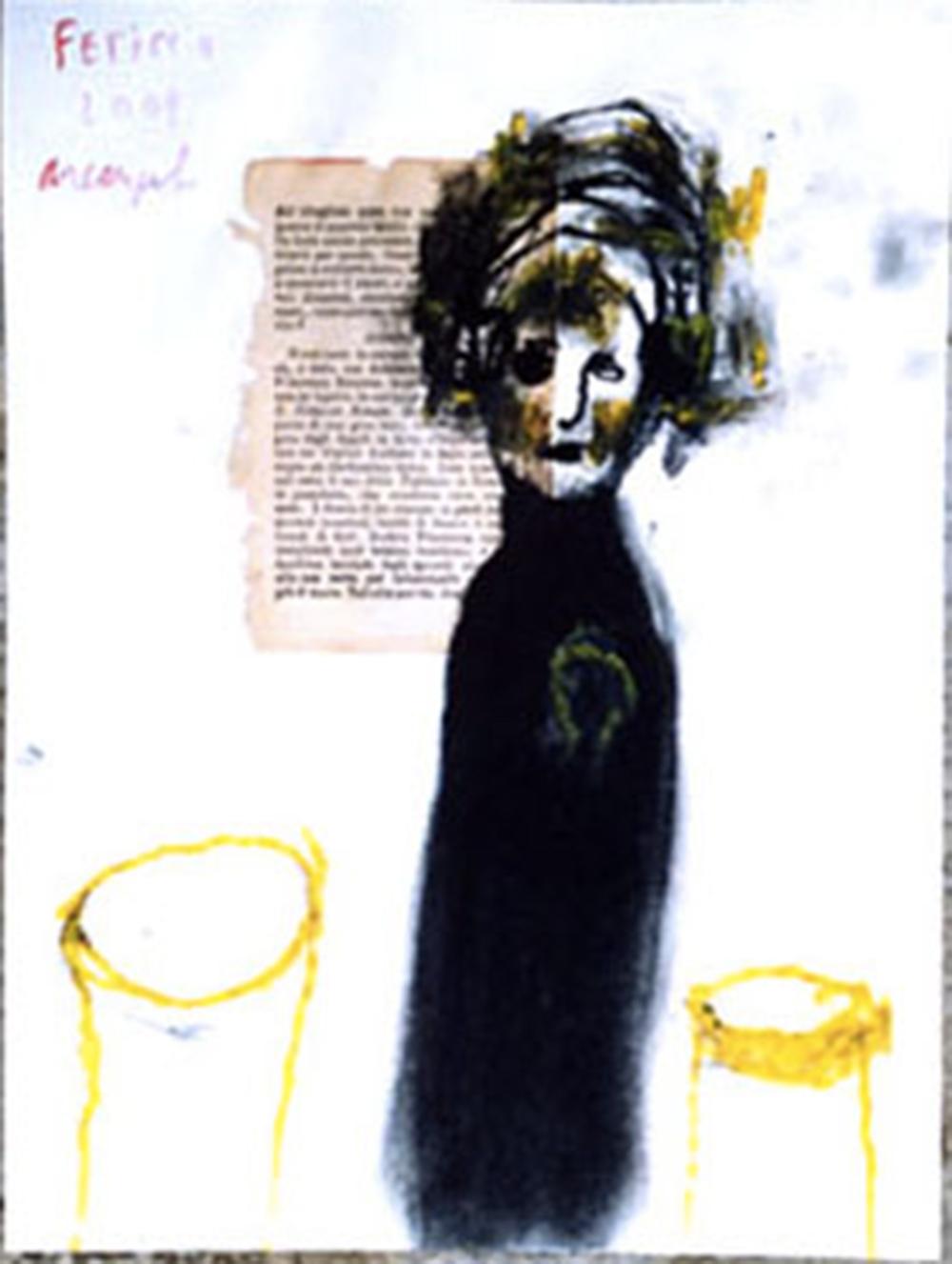 Feticcio, 2001, tecnica mista su carta, cm 32x24