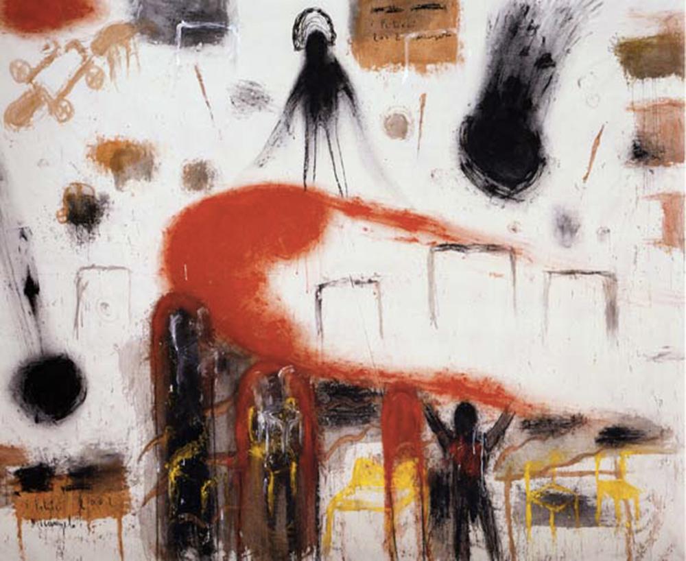Feticci, 2001, tecnica mista su tela