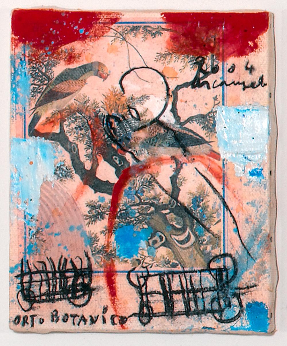 Orto botanico, 2004, tecnica mista su carta intelata, cm 30x24