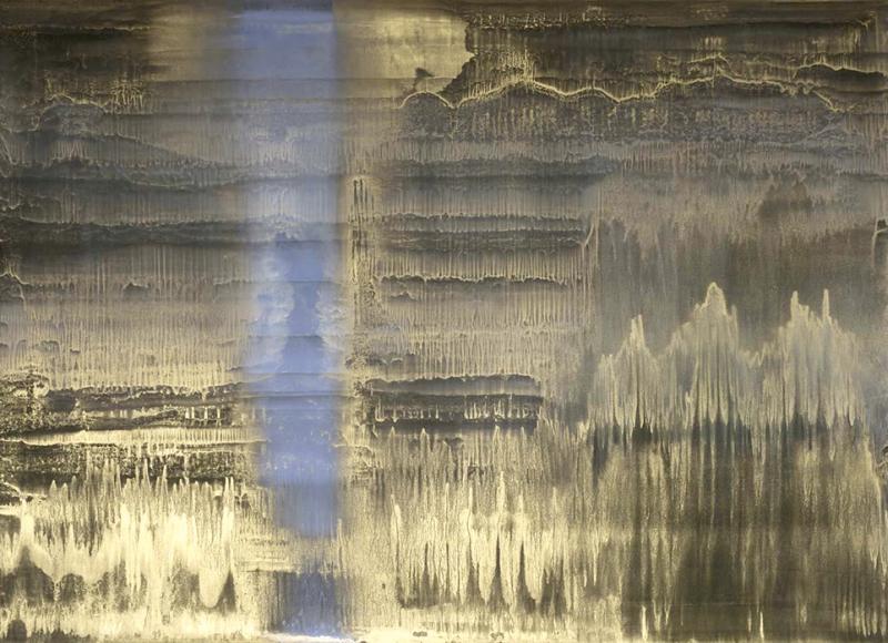 Voce nel campo, 2013, olio e polvere d'ottone su carta abrasiva intelata, cm 144x200