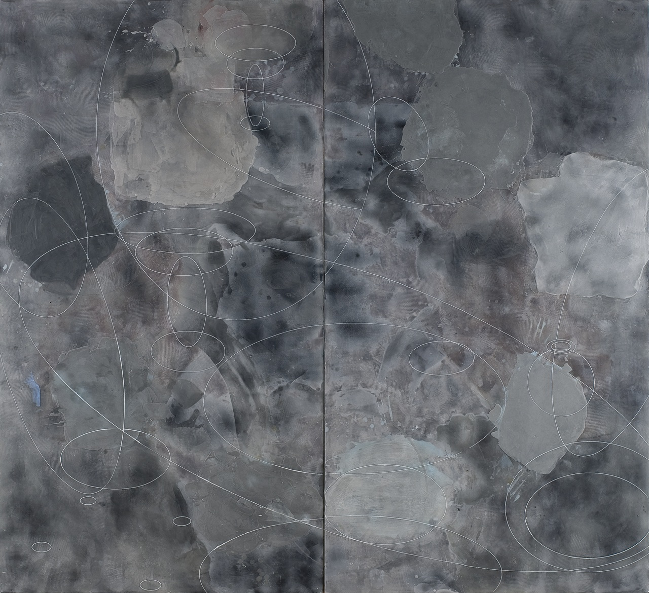Peter Flaccus, Diptych with Ellipses, 2012, encausto su tavola, cm 183x200