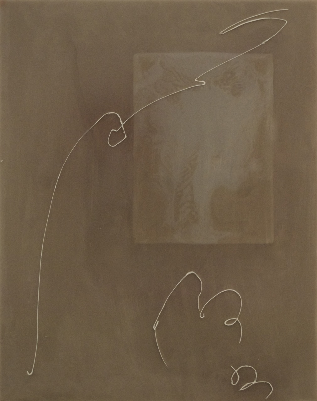 Peter Flaccus, Gray Scribble, 2011, encausto su tavola, cm 43x34