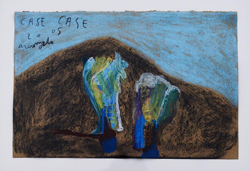 Case, 2005, tecnica mista su carta, cm 27x41