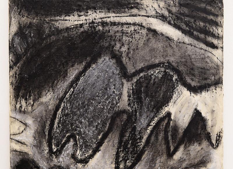 In aperta campagna, 1983, tecnica mista su carta intelata, cm 52x55,5