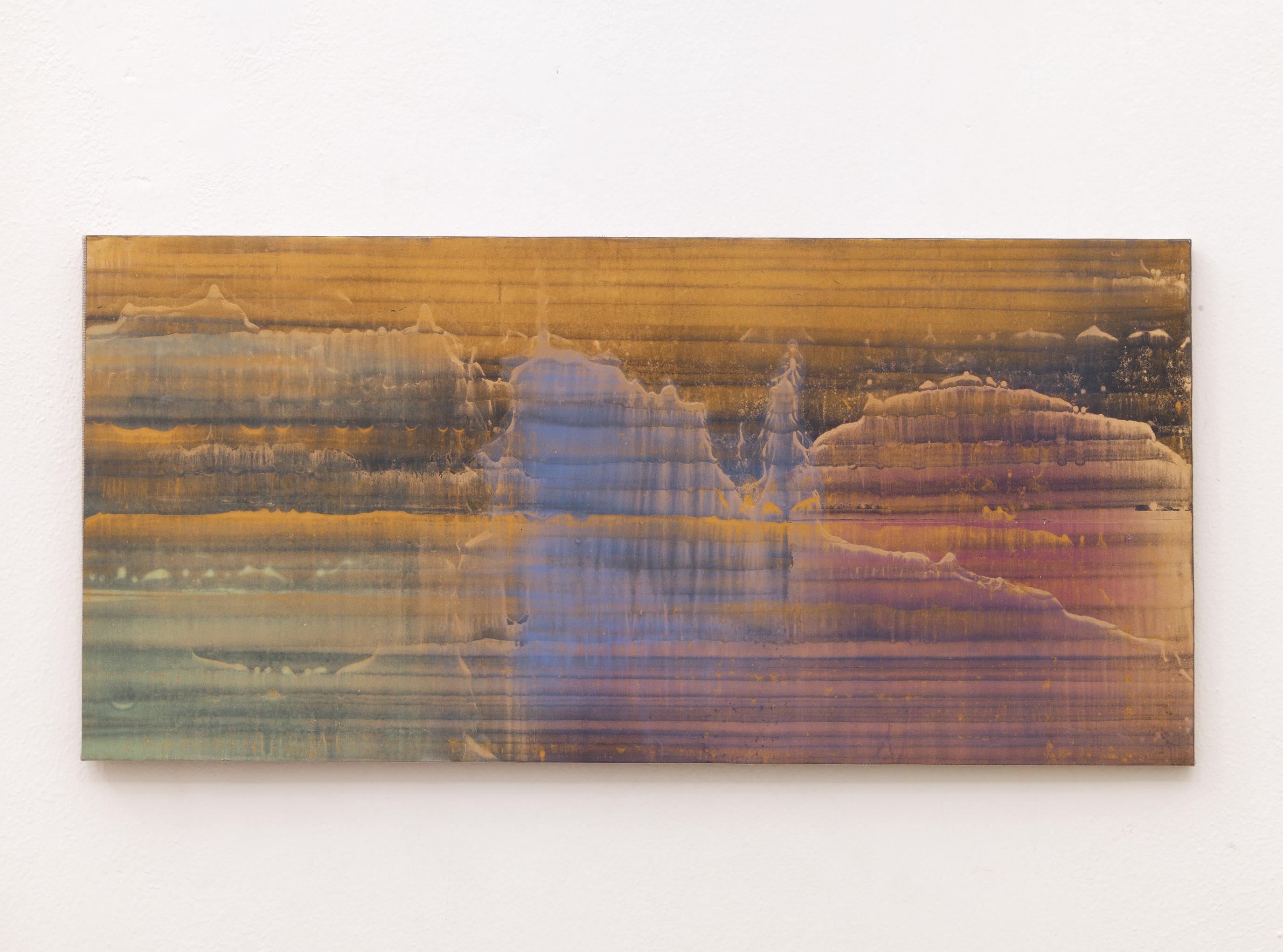Matteo Montani, Senza titolo, 2014, olio e polvere d'ottone su carta abrasiva intelata, cm 40x84
