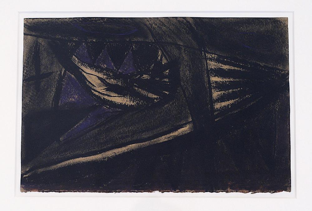 Sul monte Sarchio l'artista, 1984, tecnica mista su carta pesce, cm 26,5x40,5