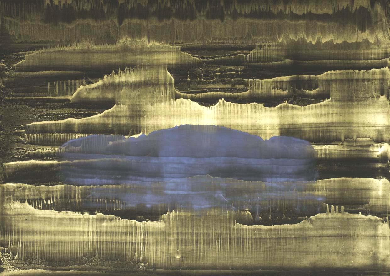 Matteo Montani, Corpo celeste, 2013-14, olio e polvere d'ottone su carta abrasiva intelata, cm 144x200
