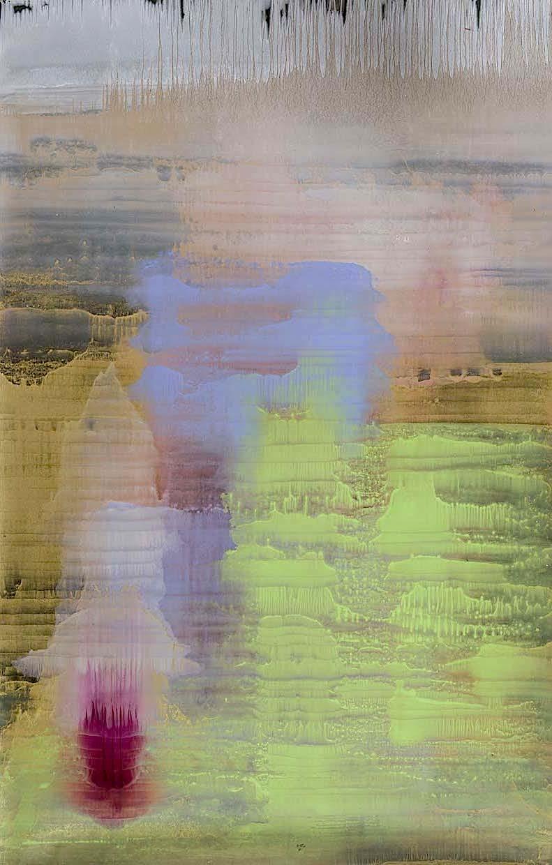 Matteo Montani, Ritrovamento, 2013, olio e polvere d'ottone su carta abrasiva intelata, cm 225x144