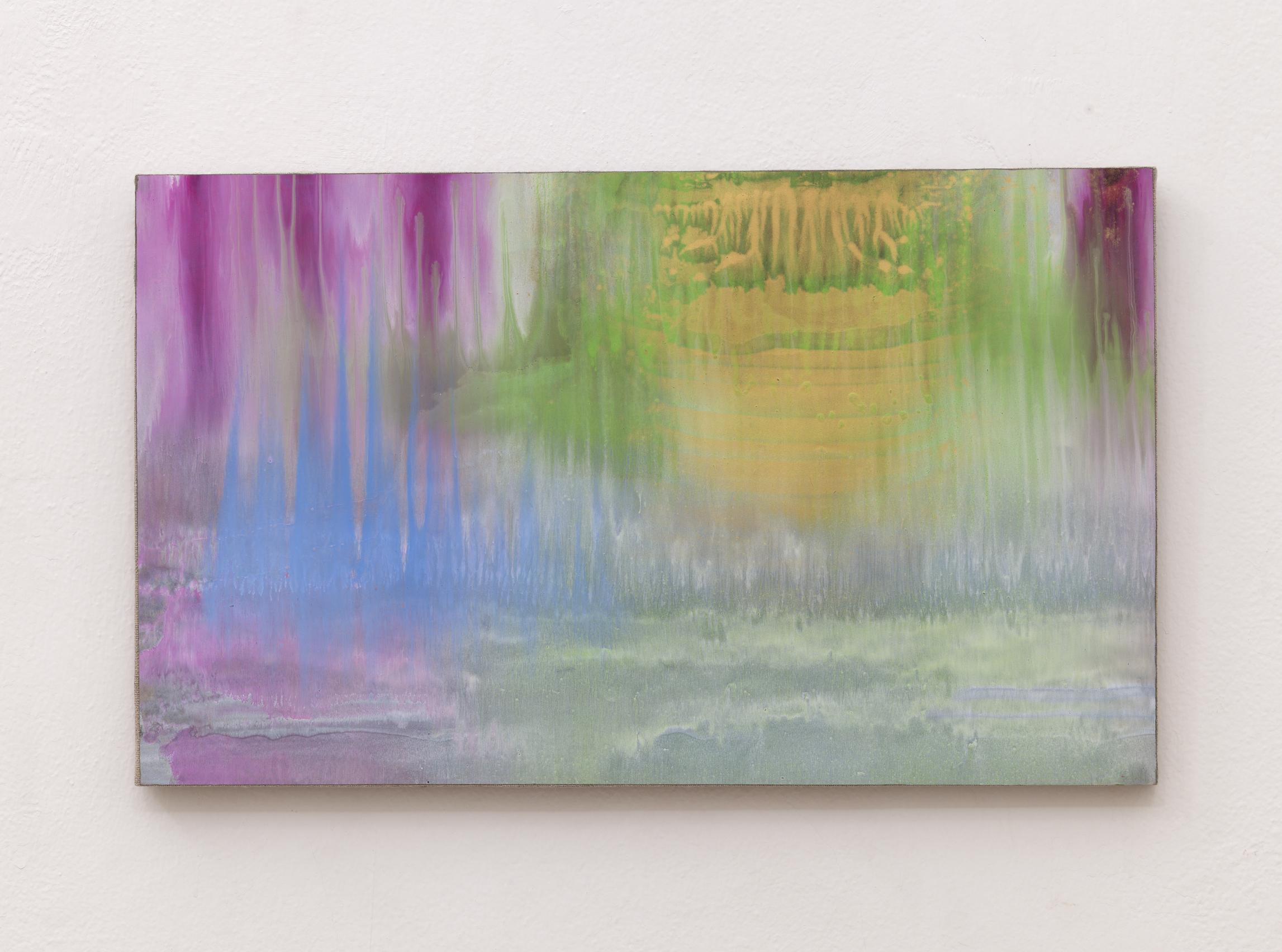 Matteo Montani, Sotto una nuova luce, 2014, olio e polvere d'ottone su carta abrasiva intelata, cm 36x60