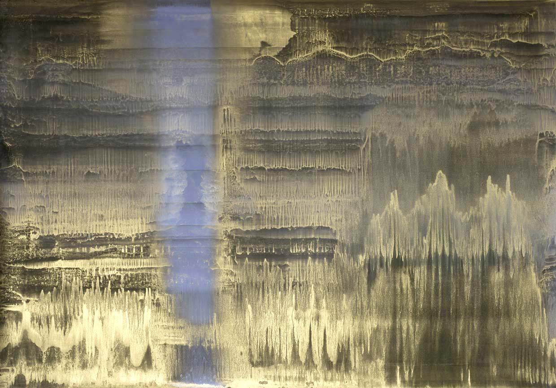 Matteo Montani, Voce nel campo, 2013, olio e polvere d'ottone su carta abrasiva intelata, cm 144x200