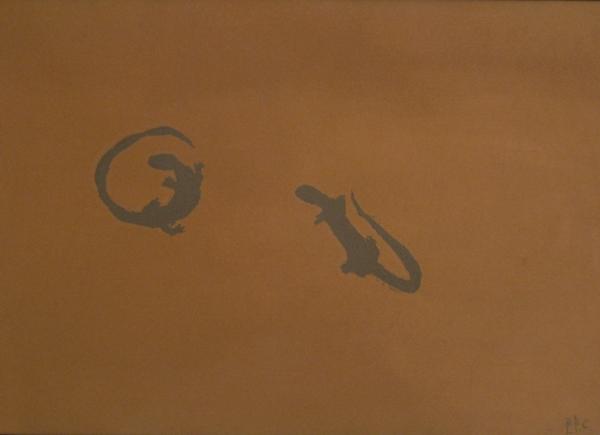 Senza titolo (lucertole), 1984, olio su faesite, cm 52x75