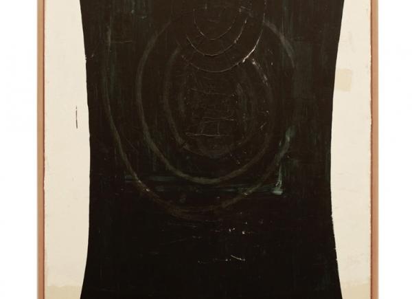 Velo scuro, 1994, olio su tela e legno, cm 195x145