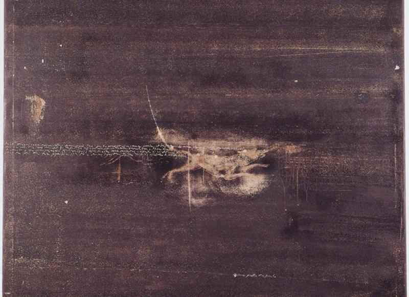 Con la scusa del cane, 2001, abrasione con le dita su dispersione su pvc, cm 150x150