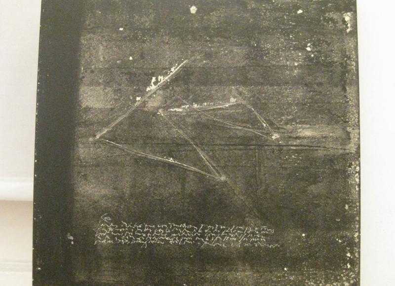 Fuori, 2001, tecnica mista su pvc, cm 80x80