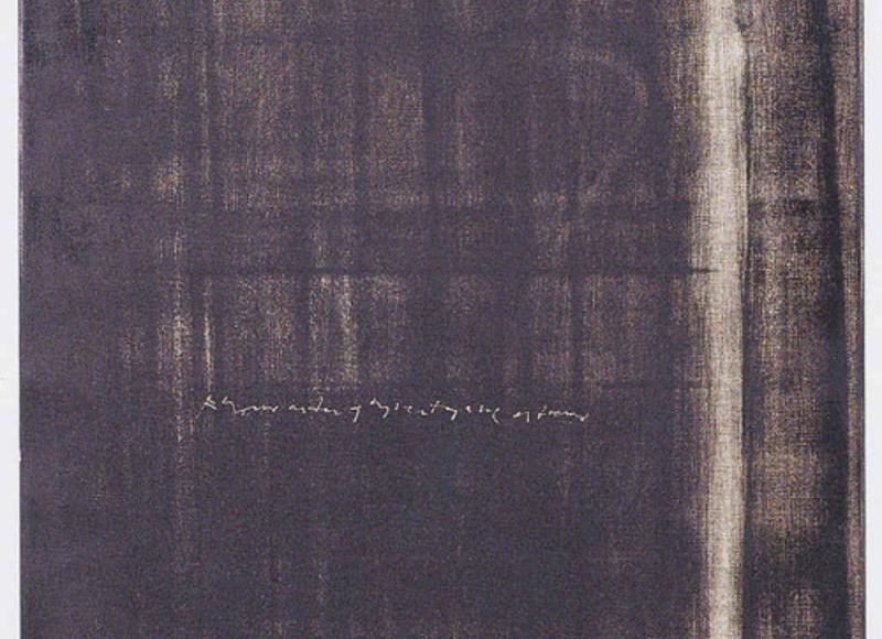 Ubbidiente dello studio, 2001, abrasione con le dita su dispersione su pvc, cm 100x55