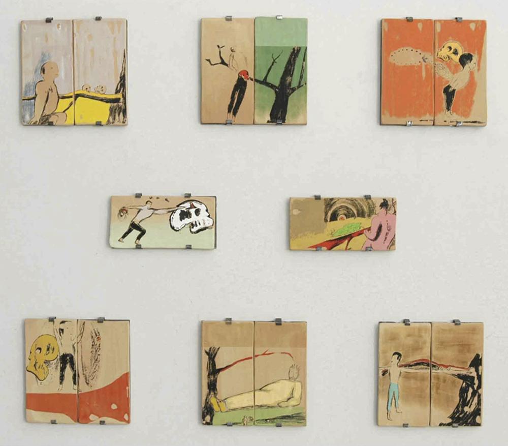 Enzo Cucchi, Eroé, 2003-14, mattoni stampati a mano per mezzo della serigrafia, pochoir ed altre tecniche, cm 29x14,5