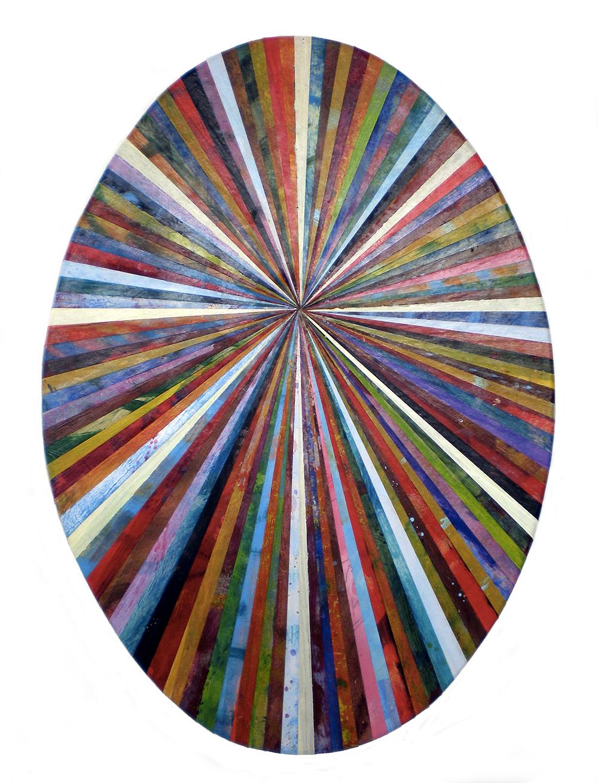 Andrea Facco, Resto di Pittura n°771, 2011, scotch carta colorato su tavola di legno, ovale, cm 64x45