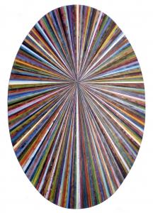 Andrea Facco, Resto di Pittura n°772, 2011, scotch carta colorato su tavola di legno, ovale, cm 150x100