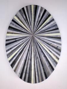 Andrea Facco, Resto di Pittura n°773, 2011, scotch carta colorato su tavola di legno, ovale, cm 64x45