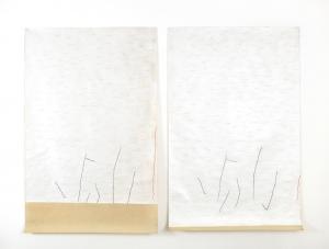 Due carte, 1975/76, tecnica mista su clennil, cm 250x190