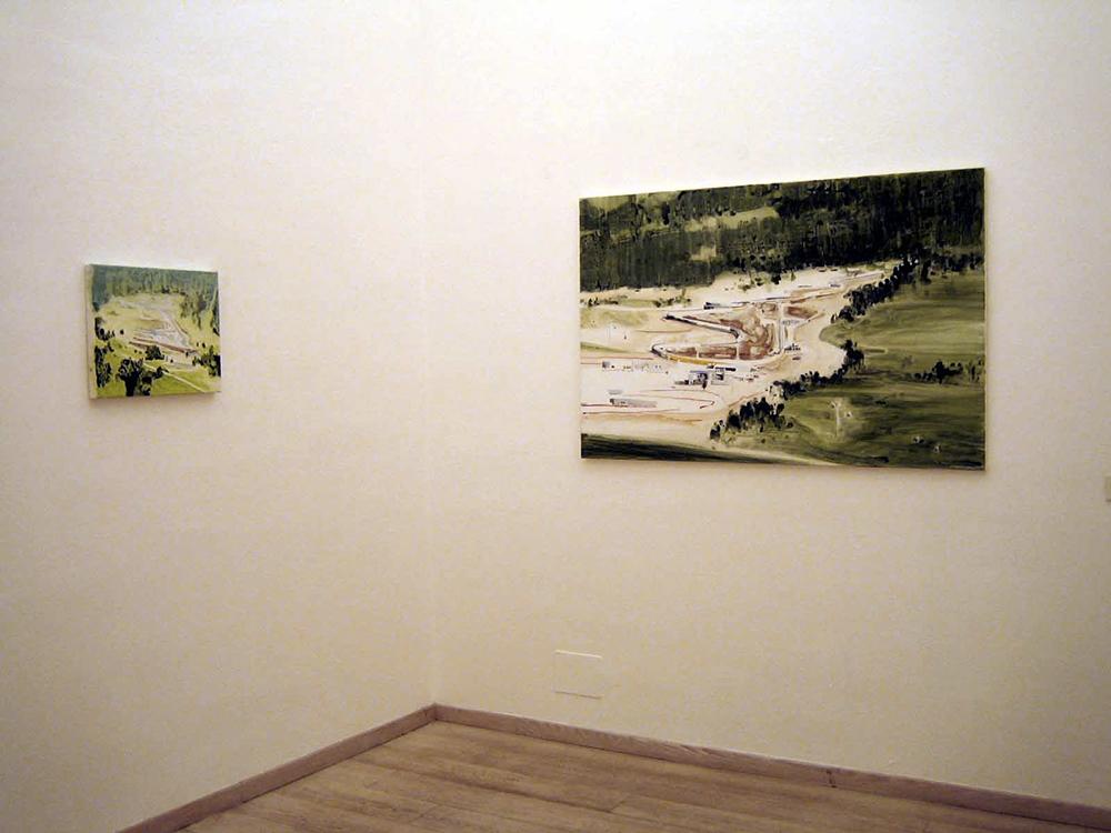 Laura Pugno, Bob, 2005, smalto e acrilico su tela, cm 110x150 e Bob, 2005, acrilico su tela, cm 40x50