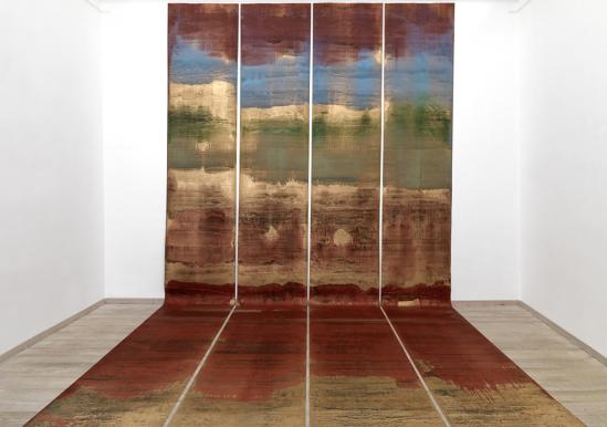 Quartetto per la fine dei tempi, 2009, olio su carta abrasiva, dimensione ambiente