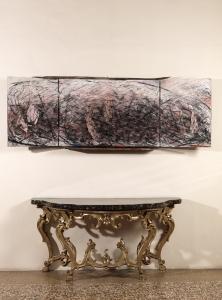 Retablo, 1986, tecnica mista, ferro, vetro e legno su tavola, cm 91,5x246,5x21,6 aperto
