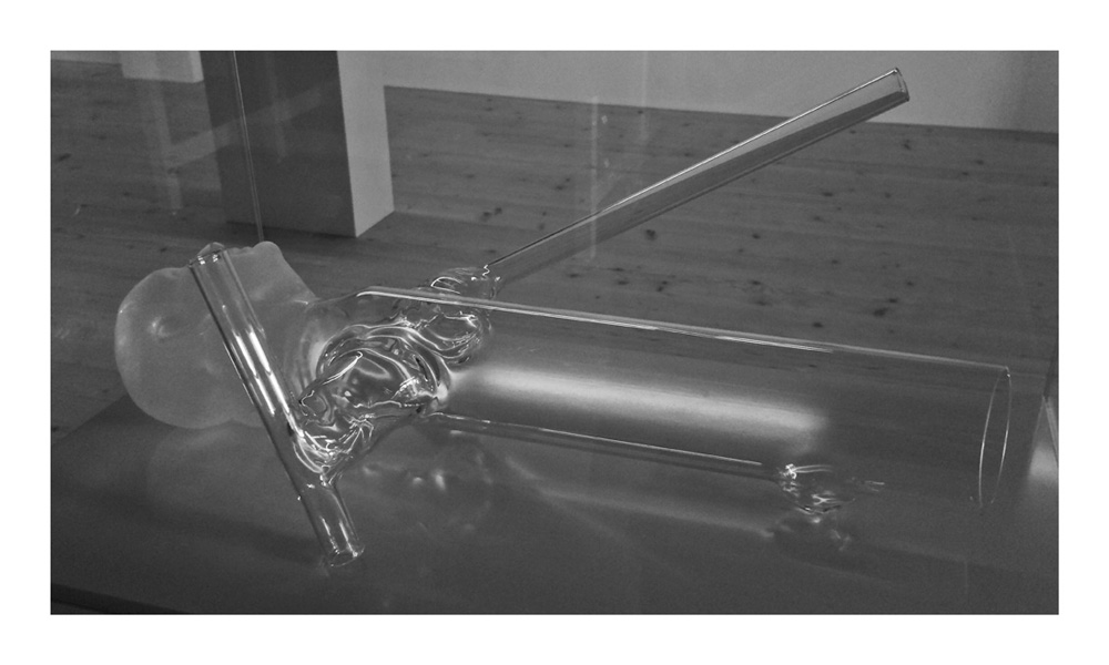 Ex Voto, 2008, glass, glass showcase and lacquered wooden base, cm 140x62x36,5