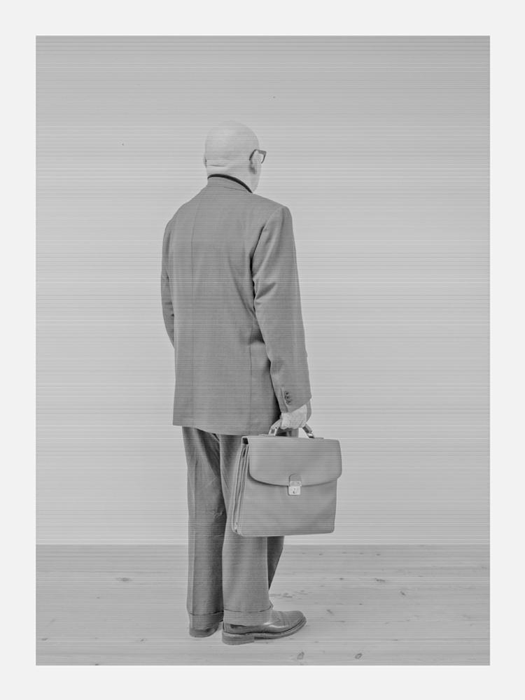 Selfportrait, from the series Brachland III, 2014, B/W photo behind plexiglass, wood, cm 200x150
