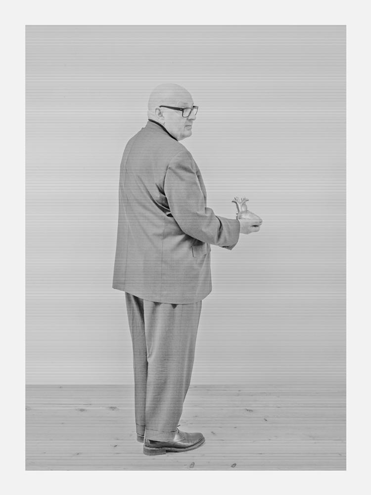 Selfportrait, from the series Brachland IV, 2014, B/W photo behind plexiglass, wood, cm 200x150