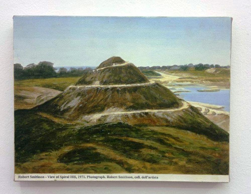 Gabriele Di Matteo, Land Art dal terrazzo. R. Smithson - dittico indivisibile Smithson-Scuola di Posillipo, 2014, acrilico su tela, cm 20x30