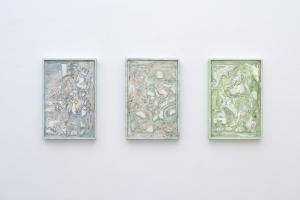 Luigi Carboni, Sette giornate, 2017, olio e smalto su marmo di Carrara, cm 45x30