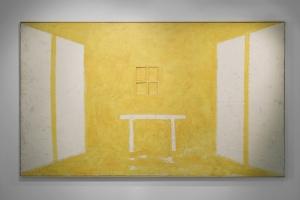 Studio giallo, 2003, olio ed encausto su tela, cm 223x383